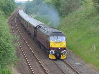 WCRC 47854 nears the site of Crossgates Station on 29 June 2015 with the Edinburgh - Boat of Garten leg of the 'Classic' tour.<br><br>[Bill Roberton&nbsp;29/06/2015]