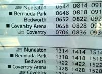 The timetable posters at Bedworth rather optimistically show stops at Bermuda Park and Coventry Arena from 17 May 2015 - although the latter will not open until September [see image 51817], and the former is still not finished. Still, it's good to plan ahead.<br><br>[Ken Strachan 30/06/2015]