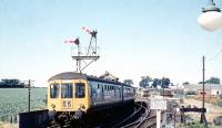 A DMU from Norwich leaving Wroxham in July 1969.<br><br>[Colin Miller&nbsp;/07/1969]