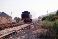 Running round at Aviemore Speyside in July 1991. With the loco shed on the left and the signal box on the right. The view today is slightly different with additional buildings on both sides of the line.<br><br>[John McIntyre&nbsp;/07/1991]