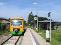 Modern Oberpfalzbahn train and modern (relocated) station at Waldmuenchen at the terminus of the branch from Cham in eastern Bavaria on 25th June. As well as offering a scenic run, this rural branch - unusually for Germany today - has freight trains, serving a liquid waste plant.<br><br>[David Spaven&nbsp;25/06/2015]