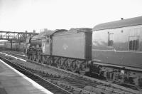 A3 Pacific 60107 <I>Royal Lancer</I> takes the down fast line through Doncaster station on 31 May 1963 with the 3.10pm Kings Cross - Leeds Central. An EE Type 3 diesel is standing with a train at the up platform.<br><br>[K A Gray&nbsp;31/05/1963]