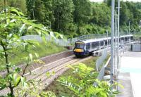 A ScotRail driver training trip pulls away from a leafy Gorebridge station on 2 July 2015 heading for Newcraighall.<br><br>[John Furnevel&nbsp;02/07/2015]