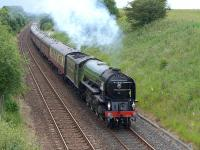 A1 Pacific 60163 <I>Tornado</I> climbing away from Dunfermline on 5 July 2015 and nearing the site of Crossgates Station with the second SRPS 'Fife Circle' special.<br><br>[Bill Roberton&nbsp;05/07/2015]