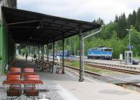 In Cold War days the Iron Curtain between West Germany and Czechoslovakia ran right through the Bayerisch Eisenstein station building and across the tracks just where a Czech Railways loco is running round its train (to Pilsen) on 24th June.<br><br>[David Spaven&nbsp;24/06/2015]