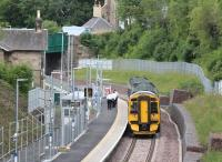 Crew training stop at Gorebridge on 9 July 2015. The train is the 0959 Tweedbank - Newcraighall, formed by ScotRail DMU 158741.<br><br>[John Furnevel&nbsp;09/07/2015]