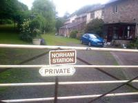 Road entrance to the old station at Norham on the Tweedmouth - Kelso line, which closed to all traffic in 1965. <br><br>[John Yellowlees&nbsp;11/07/2015]