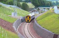 View south from Lady Brae Road as 158741 approaches Gorebridge on 9 July 2015 during a Tweedbank - Newcraighall crew training run. [See image 45126]. <br><br>[John Furnevel&nbsp;09/07/2015]