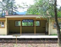 The station at Babylon (the Czech Republic version) is not quite what the photographer expected. An unstaffed halt, with just two trains a day south to Furth im Wald in Germany, and three to Domazlice / Pilsen. However, a 1-metre wide canal, dating from the 16th century, runs right past the station - providing ample alternative transport interest.<br><br>[David Spaven&nbsp;26/06/2015]