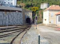 Looking out from the platform at Bastia on the morning of 6 July 2015. The station is located at the northern end of the line and reached via a half-mile tunnel under the old town.<br><br>[John Thorn&nbsp;06/07/2015]