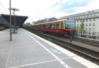 Eastbound S-Bahn train at Berlin Zoologischer Garten on 20 May 2015. The station has four main line platforms (two islands) and over to the right a separate island platform for the S-Bahn.<br><br>[Colin Miller&nbsp;20/05/2015]