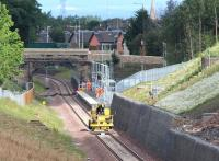 View north towards Newtongrange on 16 July 2015, a day without any scheduled Newcraighall - Tweedbank crew training runs. Finishing work is being carried out on the station and the surrounding infrastructure.<br><br>[John Furnevel&nbsp;16/07/2015]