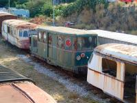 Interesting stock in the yard at Bastia in July 2015. I love that strange vehicle with the portholes!<br> <br><br>[John Thorn&nbsp;05/07/2015]