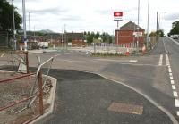 Vehicle entrance to Newtongrange station car park from the A7 on 16 July 2015, with some signage and partial landscaping now evident. Near the brow of the hill a pedestrian entrance is also nearing completion. [See image 51991]  <br><br>[John Furnevel&nbsp;16/07/2015]