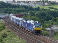 DRS 68006 climbs away from Jamestown Viaduct on 15 July with empty stock from the Edinburgh - Cardenden evening service.<br><br>[Bill Roberton&nbsp;15/07/2015]