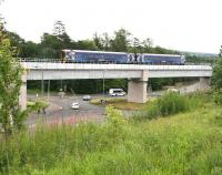 Train 2Z41, the 0959 Tweedbank - Newcraighall ScotRail crew training turn, crossing Hardengreen Viaduct on 20 July 2015 as it slows for the scheduled stop at Eskbank.<br><br>[John Furnevel&nbsp;20/07/2015]