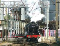 Royal Scot 46115 <I>Scots Guardsman</I> departs south from Preston on 15 July 2015 with <I>The Fellsman</I> railtour bound for Carlisle via Blackburn and Settle.<br><br>[John McIntyre&nbsp;15/07/2015]