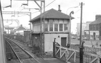 Logans Road Signalbox, Motherwell, photographed in February 1974 from a passing train.<br><br>[Bill Roberton&nbsp;/02/1974]