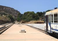 The line between Ile Rousse and Calvi on the island of Corsica operates a local shuttle with one of the older types of rolling stock. This is the view west from Ile Rousse on 9 July.<br><br>[John Thorn&nbsp;09/07/2015]