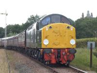 Preserved 40106 passes Bo'ness distant signal with the 16.00 to Manuel on 26 July 2015.<br><br>[Bill Roberton&nbsp;26/07/2015]
