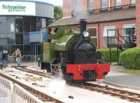 The last steam engine built by the Hunslet Engine Company in 1971, <I>Trangkil No.4</I> (works number 3902) is seen here during the Hunslet 150 celebrations on 18 July 2015 operating on temporary track at the site where it was constructed . The only original building remaining is to the right of the loco, the remainder of the site having been redeveloped by Schneider Electric.<br><br>[John McIntyre&nbsp;18/07/2015]