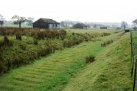 Remains of RNAD Leadburn looking towards Lamancha in October 2004. Sleeper indentations remain prominent along the length of the trackbed.<br><br>[Ewan Crawford&nbsp;30/10/2004]
