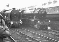 Schools class 4-4-0 30925 <I>'Cheltenham'</I> alongside WD Austerity 2-8-0 90348 at Darlington Bank Top on 13 May 1962. 30925 had arrived with the RCTS <i>East Midlander No 5</I> railtour which it had double headed with ex-LMS 2P 4-4-0 40646 from Nottingham Victoria [see image 39017]. 90348 was used to shuttle the special between Bank Top and North Road, where a works visit had been arranged. <br><br>[K A Gray&nbsp;13/05/1962]