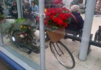 A florid bike at Ayr station on 4 August 2015.<br><br>[John Yellowlees&nbsp;04/08/2015]