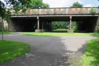 The use of closed railway lines for leisure activities is well established.  The railway origins of the Victoria Park Nature Walk are clear to see in this shot of the approach to Whiteinch Victoria Park station which was the terminus of the branch from Jordanhill and closed in 1951.  [See Image 9153]<br> <br><br>[Malcolm Chattwood&nbsp;18/07/2015]