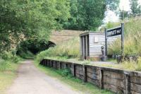 Donyatt Halt was situated just south of Ilminster on the Taunton to Chard line, closed in 1962. The station has been recreated as a feature on the trackbed bridleway. The small figure on the platform is <I>Doreen</I>, who was evacuated here during the war and later wrote about her experiences. <br><br>[Mark Bartlett&nbsp;25/07/2015]