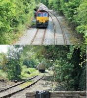 Two views of the Horrocksford branch on 7th August 2015. The first shows DRS 66054, in the run round loop with 14 empty tanks from Mossend, ready to propel its train along the branch and into the cement terminal. The second, taken from the West Bradford level crossing, shows the propelling movement taking place. This was done under radio control from a member of staff who was walking ahead of the train and operated the crossing lights. <br><br>[Mark Bartlett&nbsp;07/08/2015]
