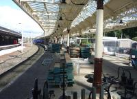 Ongoing refurbishment, repair and renewal work in progress at Wemyss Bay station on 7 August 2015.<br><br>[John Steven&nbsp;07/08/2015]