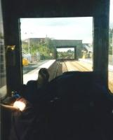 A driver's-eye view (well almost) from a Class 117 DMU as it pulls up at Rosyth in September 1999. The 117s had only 2 months to go in Fife, and I don't think many people (apart from me) mourned their passing.<br> <br><br>[David Panton&nbsp;14/09/1999]