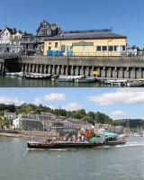 Two railway related views of Dartmouth in July 2015. The first shows the <I>'platform side'</I> of the old station, seen from the ferry landing stage. The second shows the paddle steamer <I>Kingswear Castle</I>, built for the Great Western Railway in 1924. Owned by the Paddle Steamer Preservation Society this coal fired vessel spent many years on the River Medway but is now back on the Dart and in regular use on harbour and river cruises. <br><br>[Mark Bartlett&nbsp;30/07/2015]