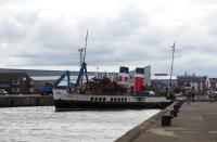 Compass Pier at Ayr Harbour on 10 August, with PS <I>Waverley</I> departing for Brodick, etc. She has to have her bow hauled round on the bow rope by the windlass to line her up for the harbour mouth, particularly with a good-going south - wester. Then it's full-ahead! <br><br>[Colin Miller&nbsp;10/08/2015]