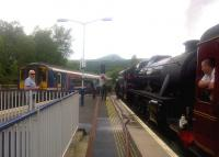 Scene at Crianlarich on 11 August 2015. On the right is 45407 with <I>The Jacobite</I>, diverted due to a landslip at Lochailort.<br><br>[John Yellowlees&nbsp;11/08/2015]