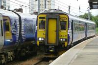 The 09.38 Glasgow Central to Stranraer runs into Platform 4 at Ayr on 12 August 2015..<br><br>[Colin Miller&nbsp;12/08/2015]