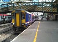 ScotRail 156496 pauses at Carlisle on 17 July 2015 on an afternoon Newcastle - Glasgow Central service, <br><br>[Ken Strachan&nbsp;17/07/2015]