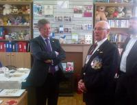 Cabinet Secretary for Infrastructure, Investment and Cities, Keith Brown, seen here with Paul Cross during the official opening of the Armed Forces Veterans Association drop-in centre at Dumbarton Central station on 18 August 2015. <br><br>[John Yellowlees&nbsp;18/08/2015]