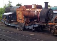 <I>'Would suit railway enthusiast.'</I> The boiler from 47298 will hopefully one day be mated with a frame, a cab, and quite a few other parts to form a steam locomotive once more. Photographed in the yards south of Bury Bolton Street station on a BLS visit in July 2015. [See image 52303]<br><br>[Ken Strachan&nbsp;19/07/2015]