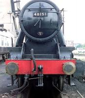 Head-on view of Stanier 8F 2-8-0 48151 at Carnforth in the early 1990s [see image 52286]. <br><br>[John Steven&nbsp;//]