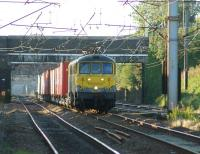 The Coatbridge to Crewe Freightliner container train approaches Leyland on 10 August 2015 hauled by 86637 and 86622 in matching <I>Powerhaul</I> livery.<br><br>[John McIntyre&nbsp;10/08/2015]