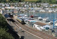 Elevated view of Kingswear station in July 2015. Class 03 D2371 is now employed here as station pilot and can just be seen inside the train shed. To the right of it is a replica signal box used as office accommodation by the railway. <br><br>[Mark Bartlett&nbsp;31/07/2015]