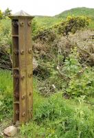 Surviving Admiralty specification fence post of the Peterhead Quarry Railway, at Stirling Hill quarry in June 2015.<br><br>[Brian Taylor&nbsp;20/06/2012]