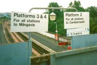 Signs on the footbridge at Springburn station in July 1997 when the service pattern was a little simpler.<br> <br><br>[David Panton&nbsp;17/07/1997]