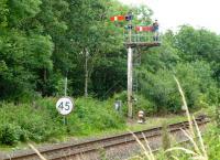 Down home signal at the start of the loop at Girvan in August 2015. Principal signal is for the down platform, subsidiary is for loop into main up platform.<br><br>[Colin Miller&nbsp;12/08/2015]