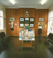 The well-kept waiting room at Troon in July 1997, with photographs showing the station over the decades. This photo itself must be of historic interest: at least I hope something has changed in 18 years. A connection to Larne (for £39) certainly has.<br> <br><br>[David Panton&nbsp;17/07/1997]