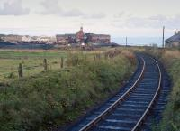 View along the Frances Colliery branch in 1980, with the pit in the background.<br><br>[Bill Roberton&nbsp;//1980]