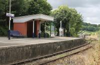 Quiet interlude at Calstock station in July 2015. The famous viaduct starts immediately beyond the boarded foot crossing at the east end of the platform and some arches can just be seen under the shelter canopy through the legs of the notice board. <br><br>[Mark Bartlett&nbsp;29/07/2015]