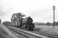 St Margarets B1 no 61191 hauling a long train of brake vans between Kelso and Sprouston. Thought to have been taken in 1956 with the train heading east towards Tweedmouth. [Ref query 3731]<br><br>[D Welsh Collection [Courtesy Bruce McCartney]&nbsp;//1956]